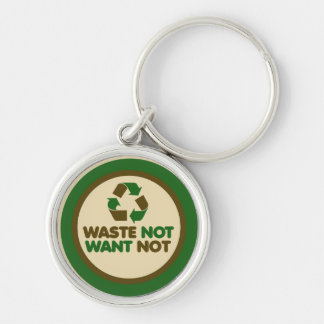 Waste not want not Silver-Colored round key ring