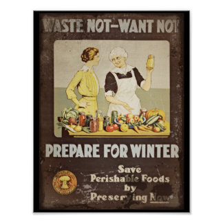 Waste Not Want Not - Mother and Daughter Canning Poster