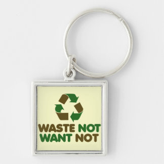 Waste not Want not Silver-Colored Square Key Ring