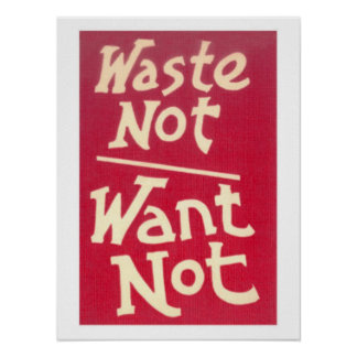 Waste Not, Want Not Slogan Poster