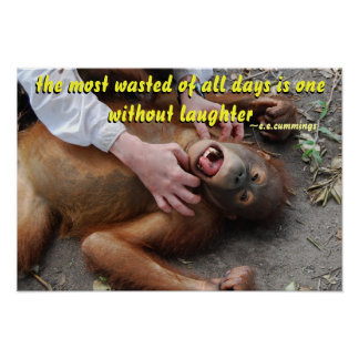 Wasted Days Cute Orangutan Laughing Poster