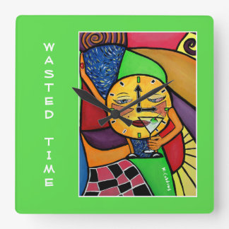 Wasted Time On Bright Green Square Wall Clock