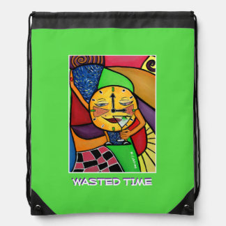 Wasted Time - Purple -Time  Pieces Drawstring Bag