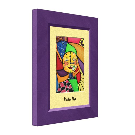 WaStEd TiMe Purple Yellow Canvas Wall Art Gallery Wrapped Canvas