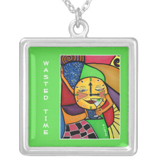 Wasted Time -Time Pieces Bright Colors Silver Plated Necklace