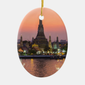 Wat Arun Temple Bangkok Thailand at sunset Ceramic Oval Decoration