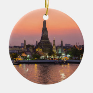 Wat Arun Temple Bangkok Thailand at sunset Round Ceramic Decoration