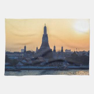 Wat Arun temple Silhouette Thailand Bangkok at sun Tea Towel