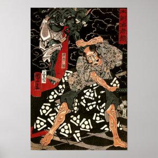 Watanabe Tsuna & Demon Kuniyoshi Fine Japanese Poster