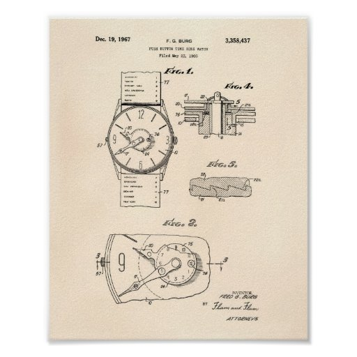 Watch 1966 Patent Art - Old Peper Poster