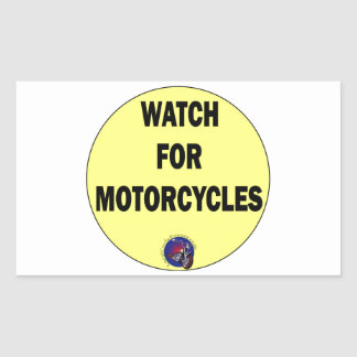 Watch for Motorcycles BLING Rectangular Sticker