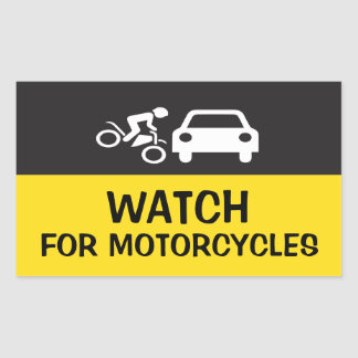 WATCH FOR MOTORCYCLES RECTANGULAR STICKERS