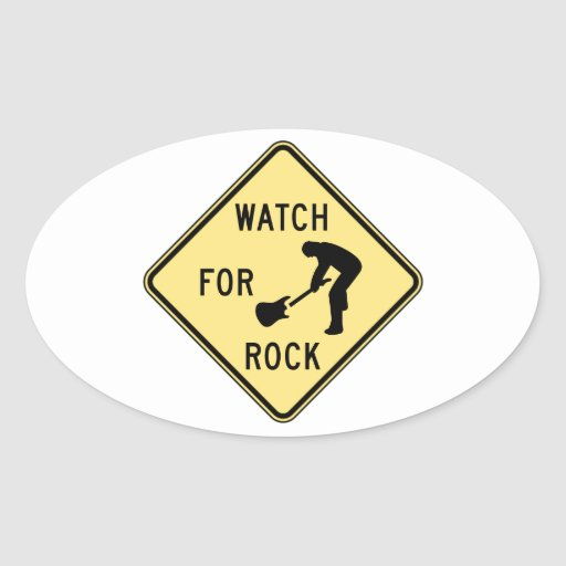 WATCH FOR ROCK- rock and roll/music/indie/metal Oval Stickers