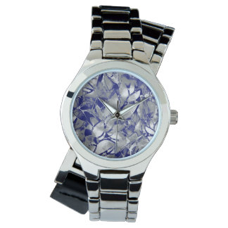 Watch Grunge Art Silver Floral Abstract
