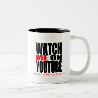 Watch Me on YouTube (Modern) Two-Tone Coffee Mug