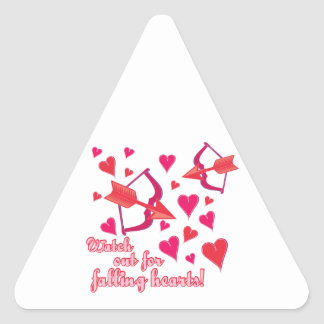 Watch Out For Falling Hearts Triangle Stickers