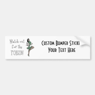 Watch Out For The Poison Retro Waitress - Color Bumper Sticker