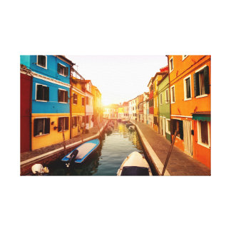 Watch the sun rise at the canals of Venice. Europe Canvas Print