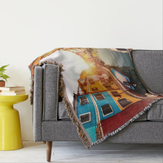 Watch the sun rise at the canals of Venice. Europe Throw Blanket