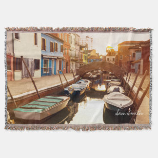 Watch the sun set at the canals of Venice. Europe Throw Blanket