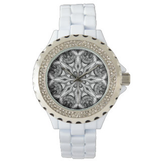 Watch with a digital art fractal snowflake
