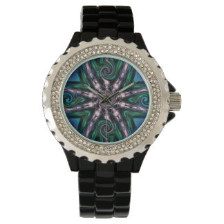 Watch with a digital art fractal snowflake design