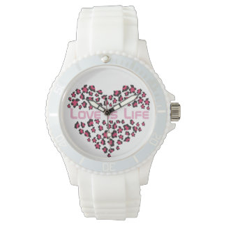 Watch with leopard heart