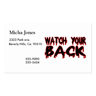 Watch Your Back Pack Of Standard Business Cards
