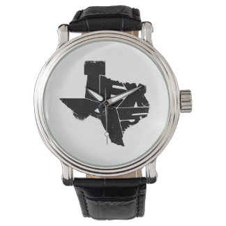 Watches with Texas State Map in Black Lettering