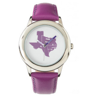Watches with Texas State Map in Purple Lettering