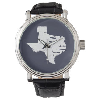Watches with Texas State Map in White Lettering