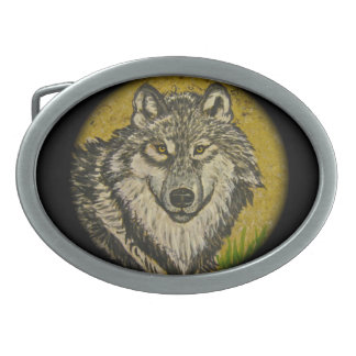 Watchful Eyes Wolf Belt Buckle