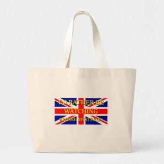 Watching British Mysteries Large Tote Bag