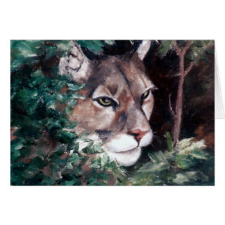 Watching Cougar Blank Card