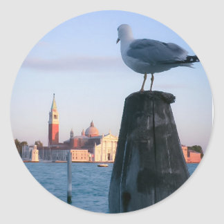Watching for gondalas in Venice Classic Round Sticker