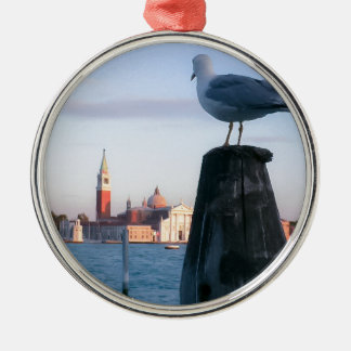 Watching for gondalas in Venice Silver-Colored Round Decoration