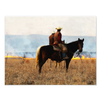 Watching the Fire in the Flint Hills Photo Print