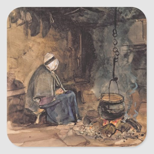 Watching the pot boil - a cottage interior stickers
