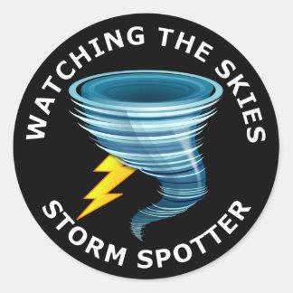 Watching The Skies Storm Spotter Round Sticker