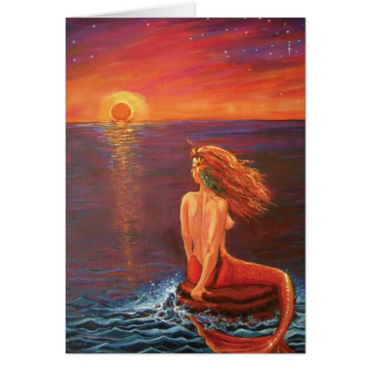 Watching The Sunset - Mermaid art Greeting Card