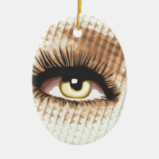 Watching you - Wide eye open Ceramic Oval Decoration