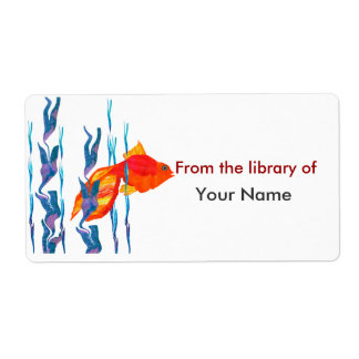 Watecolor Cute Red Fish  Digital Quilt Shipping Label