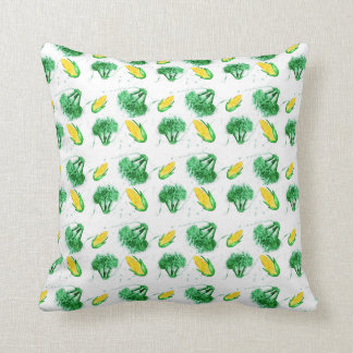Watecolor  pattern with corns and broccoli cushion
