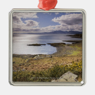 Water and coast view in Bute, Argyll, Scotland Silver-Colored Square Decoration