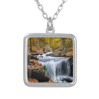 Water Autumn Falls Silver Plated Necklace