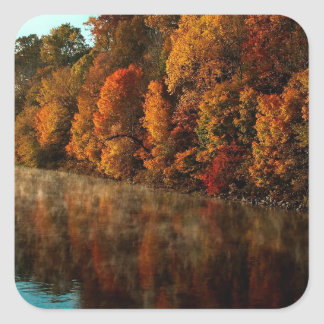 Water Autumn Tree Harmony Square Stickers
