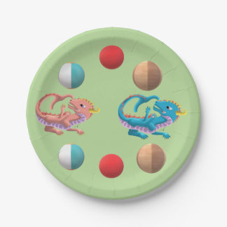 Water Baby Dragons Catch Ball Paper Plate