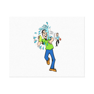 Water Balloon Fight Gallery Wrapped Canvas