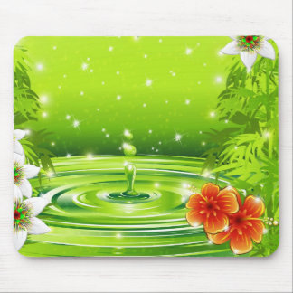 Water Bamboo and Tropical Flowers Mousepad