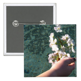 Water Blossoms 15 Cm Square Badge